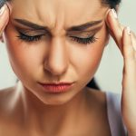 Health And Pain. Stressed Exhausted Young Woman Having Strong Te